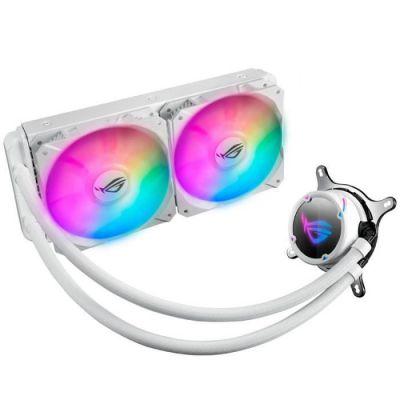 image ASUS ROG Strix LC 240 RGB White Edition, Cooler CPU All-in-One ROG, avec éclairage Addressable RGB, Aura Sync, revêtement Pompe NCVM et Ventilateur du radiateur ROG 120 mm