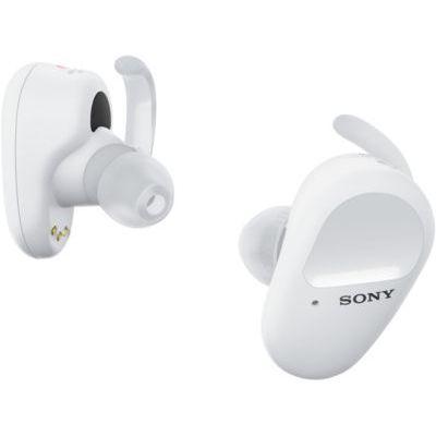 image Sony WF-SP800N Ecouteurs sans fil bluetooth à réduction de bruit numérique, avec arcs de stabilisation pour le sport, resistant à l'eau et à la poussière, micro intégré pour appels, Blanc