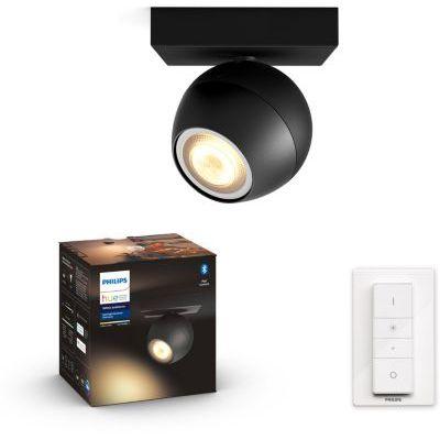 image Philips Hue White Ambiance BUCKRAM Spot 1x5.5W - Noir (télécommande incluse), compatible Bluetooth