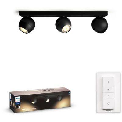 image Philips Hue White Ambiance BUCKRAM Spot barre tube 3x5.5W - Noir (télécommande incluse), compatible Bluetooth