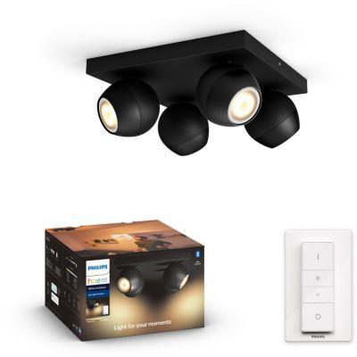 image Ampoule connectée Philips Hue Buckram 4 Spots Noir + télécommande