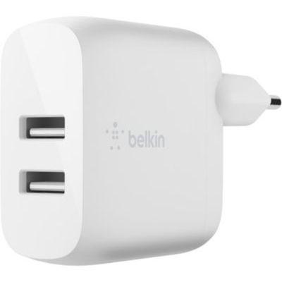 image Belkin Chargeur secteur 2 ports USB-A Boost Charge 24 W (iPhone12, 12Pro, 12Pro Max, 12 mini et modèles antérieurs, Samsung S20, S20+, S20 Ultra, Pixel 4, etc.)