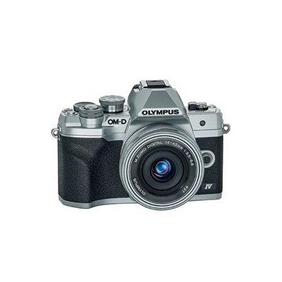 image Kit d'appareil photo Micro Four Thirds Olympus OM-D E-M10 MarkIV, capteur 20MP, viseur électronique, vidéo4K, Wi-Fi, argent - Comprend l'objectif M.Zuiko Digital ED 14-42mm F3.5-5.6 Pancake argent