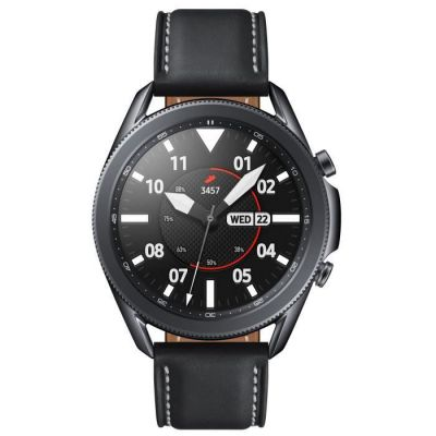 image Samsung Galaxy Watch3 Montre connectée Bluetooth, boîtier 45 mm Acier, Bracelet en Cuir, détection de Chute, Suivi du Sport, 53,8 g, Batterie 340 mAh, IP68, Mystic Black Version FR