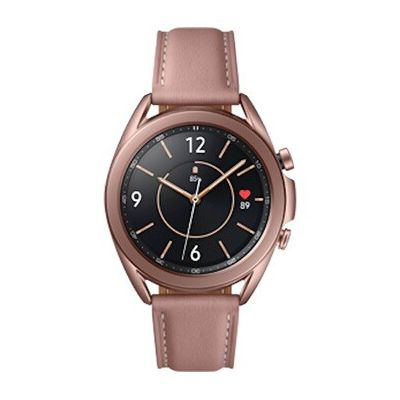 image Samsung Galaxy Watch3 Montre connectée Bluetooth, boîtier 41 mm, bracelet en cuir, bracelet en cuir, capteur de chute, suivi de sport, 48,2 g, batterie 247 mAh, IP68, Mystic Bronze [version italienne]