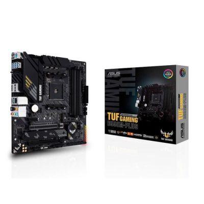 image ASUS TUF GAMING B550M-PLUS – Carte mère AMD B550 (Ryzen AM4), mATX, PCIe 4.0, 2xM.2, DDR4 4400, Ethernet 2.5 Gb, HDMI, DisplayPort, SATA 6 Gb/s, USB 3.2 Gén. 2 Type-A et Type-C, Aura Sync RGB