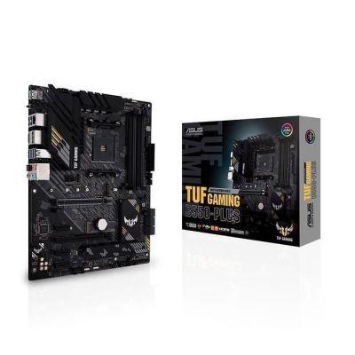 image ASUS TUF GAMING B550 PLUS – Carte mère AMD B550 Ryzen AM4, ATX, PCIe 4.0, 2xM.2, 10 phases d'alimentation DrMOS, DDR4 4400, Ethernet Intel 2.5Gb, HDMI, DisplayPort, USB 3.2 G.2 Type-A/C, Aura Sync RGB