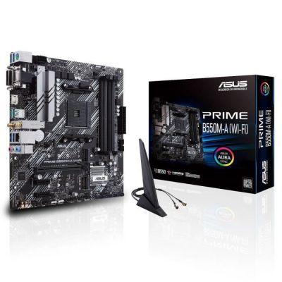 image ASUS PRIME B550M-A (WI-FI) – Carte mère AMD B550 (Ryzen AM4) micro ATX, 2x M.2, PCIe 4.0, DDR4 4400, Wi-Fi 6 Intel, Ethernet 1Gb, HDMI/D-Sub/DVI, USB 3.2 Gén. 2 Type-A, Aura Sync RGB