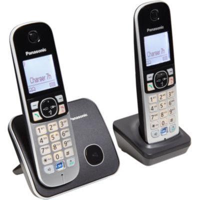 image Panasonic KX-TG6812 Téléphone DECT Identification de l'appelant Noir, Gris - téléphones (Téléphone DECT, Haut-parleur, 120 entrées, Identification de l'appelant, Noir, Gris) [Version Française]