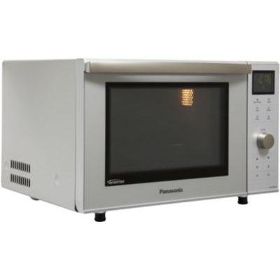 image Panasonic Four Micro-ondes Combiné Compact NN-DF385MEPG 23L, Micro-ondes Inverter 1000 W, Gril à Quartz 1000 W, Chaleur tournante 100-220°C, Plateau fixe, 16 Programmes automatiques, Gris