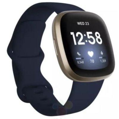image Fitbit Versa 3 Midnight - Soft Gold Smartwatch Unisex-Adult, Bleu, Nuit, Or, Pâle, One