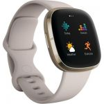 image produit Fitbit Sense Lunar White - Soft Gold Smartwatch Unisex-Adult, Blanc lunaire, acier inoxydable or pâle, One - livrable en France