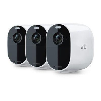 image Echo Show 5, Restez en contact avec l'aide d'Alexa, Blanc + Arlo Essential - Caméra 100% Sans fils, Pack de 3 caméras HD. Jour/Nuit, Etanche IP65, Intérieur/Extérieur, Batterie 6 mois