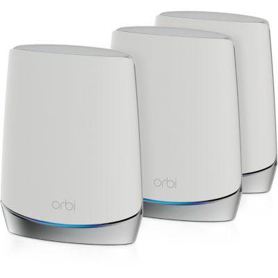 image NETGEAR Système WiFi mesh tri-bandes Orbi WiFi 6 AX4200 (RBK754), jusqu'à 4.2 Gbit/s, couvre jusqu'à 700m² et plus de 40 appareils,Routeur et 3 satellites, un wifi dans toute la maison, murs épais