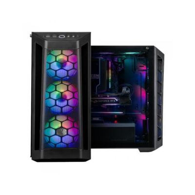 image Cooler Master MasterBox MB511 ARGB - Boîtier Moyen tour PC Gamer ATX, panneau maille avant, 3 x 120mm ventilateurs pré-installés, panneau latéral en verre, flexibles configurations de flux d'air, ARGB