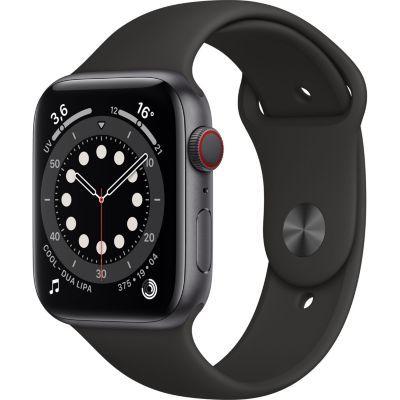 image AppleWatch Series6 (GPS+ Cellular, 44 mm) Boîtier en aluminium gris sidéral, Bracelet Sport noir