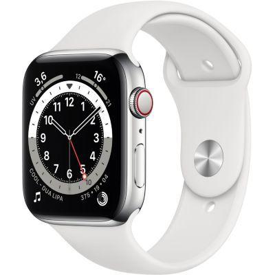 image AppleWatch Series6 (GPS+ Cellular, 44 mm) Boîtier en aluminium argent, Bracelet Sport blanc