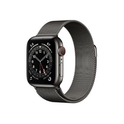 image AppleWatch Series6 (GPS+Cellular, 44 mm) Boîtier en acier inoxydable graphite, Bracelet Milanais graphite
