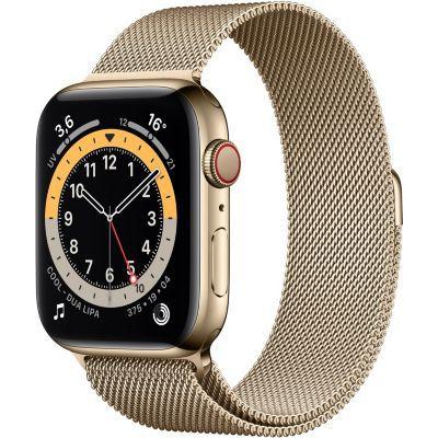 image AppleWatch Series6 (GPS+Cellular, 44 mm) Boîtier en acier inoxydable or, Bracelet Milanais or