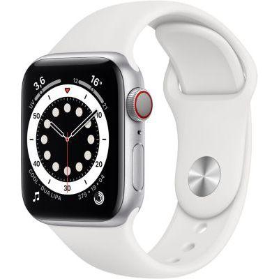 image AppleWatch Series6 (GPS+ Cellular, 40 mm) Boîtier en aluminium argent, BraceletSport blanc
