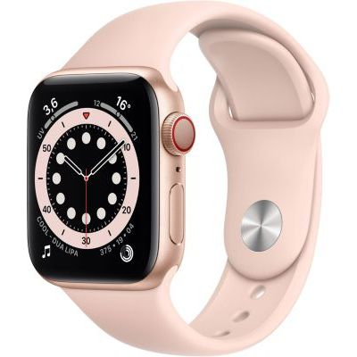 image AppleWatch Series6 (GPS+ Cellular, 40 mm) Boîtier en aluminium or, BraceletSport rosedessables
