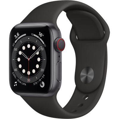 image AppleWatch Series6 (GPS+ Cellular, 40 mm) Boîtier en aluminium gris sidéral, Bracelet Sport noir