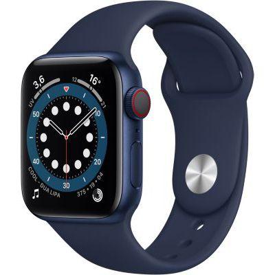 image AppleWatch Series6 (GPS+ Cellular, 40 mm) Boîtier en aluminium bleu, Bracelet Sport marine intense