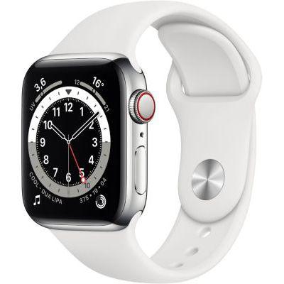 image AppleWatch Series6 (GPS+ Cellular, 40 mm) Boîtier en acier inoxydable argent, Bracelet Sport blanc