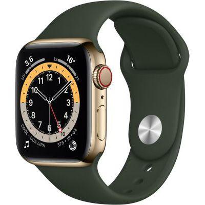 image AppleWatch Series6 (GPS+ Cellular, 40 mm) Boîtier en acier inoxydable or, Bracelet Sport vert de Chypre