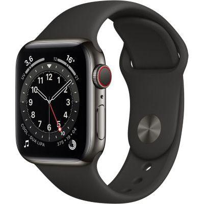 image AppleWatch Series6 (GPS+ Cellular, 40 mm) Boîtier en acier inoxydable graphite, Bracelet Sport noir