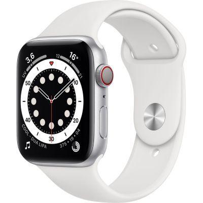 image AppleWatch Series6 (GPS+ Cellular, 44 mm) Boîtier en acier inoxydable argent, Bracelet Sport blanc