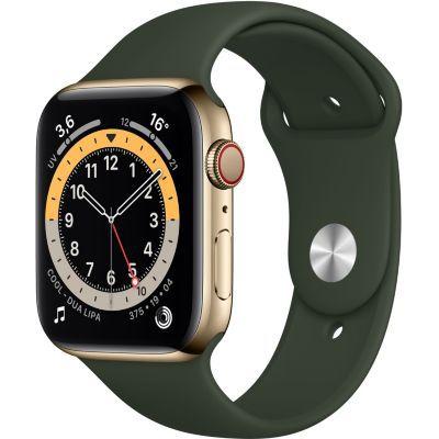image AppleWatch Series6 (GPS+ Cellular, 44 mm) Boîtier en acier inoxydable or, Bracelet Sport vert de Chypre