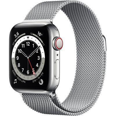 image AppleWatch Series6 (GPS+Cellular, 44 mm) Boîtier en acier inoxydable argent, Bracelet Milanais argent