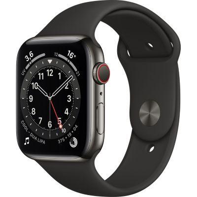 image AppleWatch Series6 (GPS+ Cellular, 44 mm) Boîtier en acier inoxydable graphite, Bracelet Sport noir