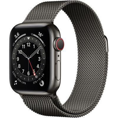 image AppleWatch Series6 (GPS+Cellular, 40 mm) Boîtier en acier inoxydable graphite, Bracelet Milanais graphite