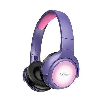 image Casque audio Philips Casque enfants Bluetooth - Rose - avec coques lumineuses
