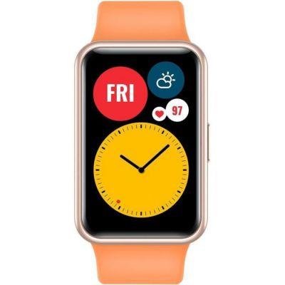 """image HUAWEI WATCH FIT Montre Connectée, Boitier en métal, écran AMOLED de 1.64"""", 10 Jours D'autonomie, 96 Modes D'entraénement, GPS Intégré,SpO2, Capteur de Fréquence Cardiaque, Gestion du Sommeil, Orange"""