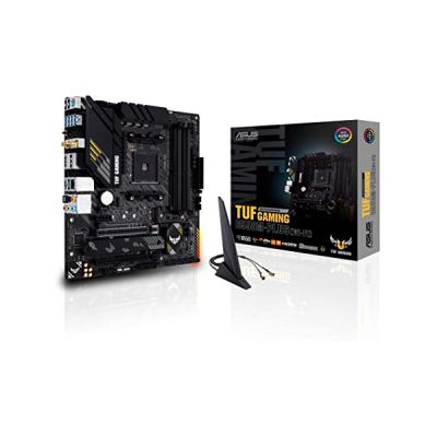image ASUS TUF GAMING B550M-PLUS (WI-FI) – Carte mère AMD B550 (Ryzen AM4), mATX, PCIe 4.0, 2xM.2, DDR4 4400, WiFi 6, Ethernet 2.5 Gb, HDMI, DisplayPort, USB 3.2 Gén. 2 Type-A et Type-C, Aura Sync RGB