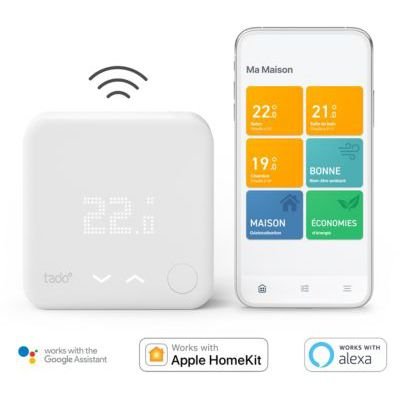 image tado° Thermostat Intelligent sans fil Kit de Démarrage V3+ - Contrôle intelligent du chauffage, Designed in Germany, fonctionne avec Alexa, Siri & Assistant Google