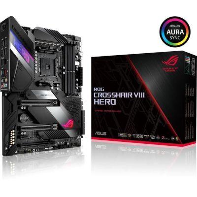 ASUS ROG CROSSHAIR VIII HERO - Carte mère gaming (AMD X570 ATX PCIe 4.0, 16 phases d\'alimentation, OptiMem III, LAN 2,5 Gb/s, USB 3.2, SATA, M.2, Aura Sync)