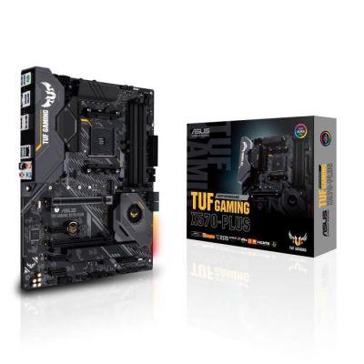 image ASUS Carte Mère Gaming TUF Gaming X570-Plus AMD AM4 Ryzen 3000 (PCIe 4.0 M.2 12+2 Dr. MOS DDR4 LAN HDMI DP CFX USB 3.2 Gen 2 Type-A Type-C Aura Sync RGB ATX)