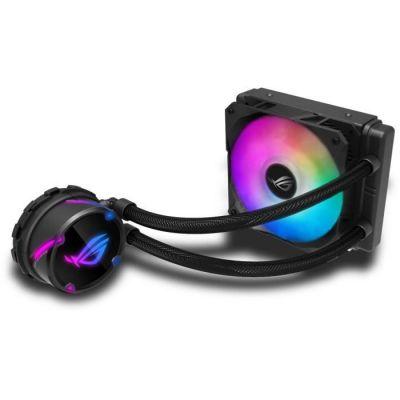 image ROG STRIX LC 120 RGB, Cooler CPU All-IN-One ROG, avec éclairage Addressable RGB, Aura Sync, Revêtement de Pompe Ncvm et Ventilateur de Radiateur ROG