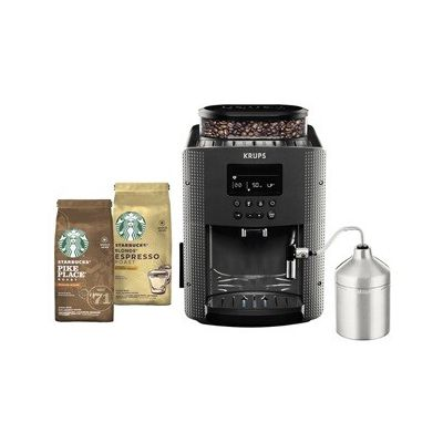 image Expresso avec broyeur Krups ESSENTIAL Grise avec mousseur et 2 paquets café Starbucks