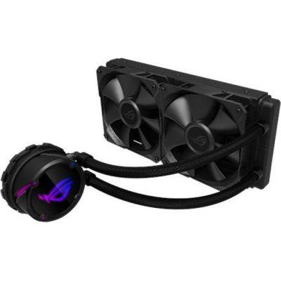 image ROG STRIX Cooler CPU Tout-En-Un ROG, avec éclairage réglable RGB, Aura Sync, Revêtement de Pompe Ncvm et Ventilateur de Radiateur ROG 2x ROG FAN 120 mm