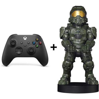 image Pack Manette Xbox Series Noire Halo : Manette Xbox Series sans fil + Figurine support et recharge manette Cable Guy Halo