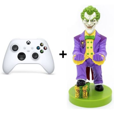 Pack Manette Xbox Series Blanche Joker : Manette Xbox Series sans fil Blanche + Figurine support et recharge manette Cable Guy Joker