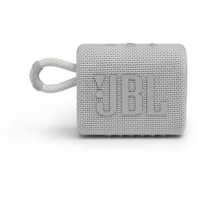 image JBL GO 3 – Enceinte Bluetooth portable et légère, aux basses intenses et au style audacieux – Étanche à l'eau et à la poussière – Autonomie 5 hrs – Blanc