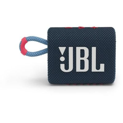 image JBL GO 3 – Enceinte Bluetooth portable et légère, aux basses intenses et au style audacieux – Étanche à l'eau et à la poussière – Autonomie 5 hrs – Bleu / Rose