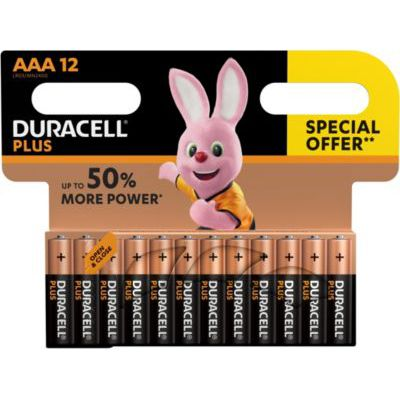 image Duracell Plus, pack de 12 piles alcalines Type AAA 1,5 Volts LR03 MN2400