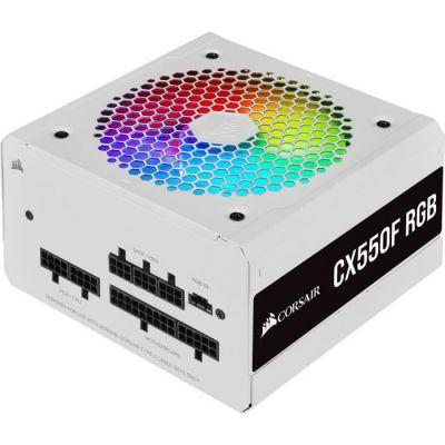 image Corsair CX550F RGB, Bloc d'alimentation ATX Entièrement Modulaire 80 PLUS Bronze (Certifié 80 PLUS Bronze, Ventilateur RGB 120 mm, Optimisé pour Une Discrétion Absolue, Condensateurs 105 °C) Blanc